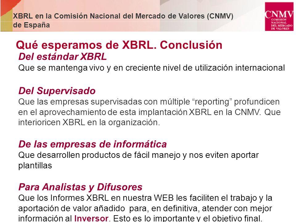 Qué esperamos de XBRL. Conclusión Del estándar XBRL Que se mantenga vivo y en creciente nivel de utilización internacional Del Supervisado Que las emp