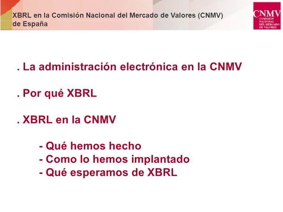 . La administración electrónica en la CNMV. Por qué XBRL. XBRL en la CNMV - Qué hemos hecho - Como lo hemos implantado - Qué esperamos de XBRL XBRL en