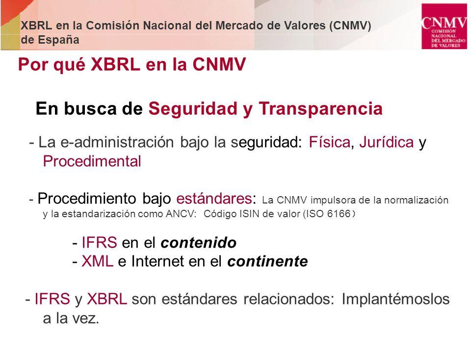 Por qué XBRL en la CNMV En busca de Seguridad y Transparencia - La e-administración bajo la seguridad: Física, Jurídica y Procedimental - Procedimient