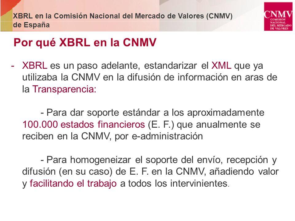 Por qué XBRL en la CNMV -XBRL es un paso adelante, estandarizar el XML que ya utilizaba la CNMV en la difusión de información en aras de la Transparen