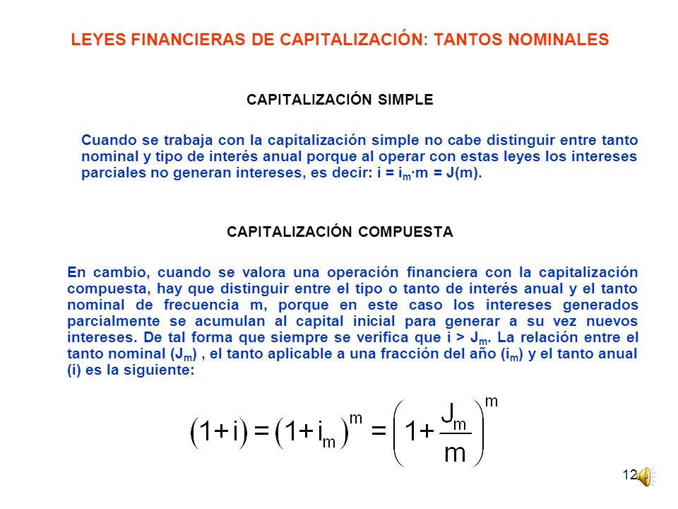 12 LEYES FINANCIERAS DE CAPITALIZACIÓN: TANTOS NOMINALES CAPITALIZACIÓN SIMPLE Cuando se trabaja con la capitalización simple no cabe distinguir entre