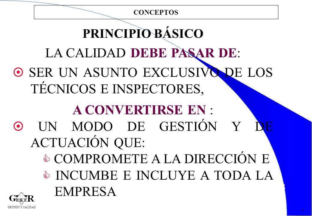 13 CONCEPTOS 4 GESTIÓN Y CALIDAD PRINCIPIO BÁSICO LA CALIDAD DEBE PASAR DE: SER UN ASUNTO EXCLUSIVO DE LOS TÉCNICOS E INSPECTORES, A CONVERTIRSE EN :
