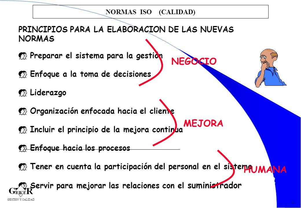 22 NORMAS ISO (CALIDAD) 11 PRINCIPIOS PARA LA ELABORACION DE LAS NUEVAS NORMAS Preparar el sistema para la gestión Enfoque a la toma de decisiones Lid