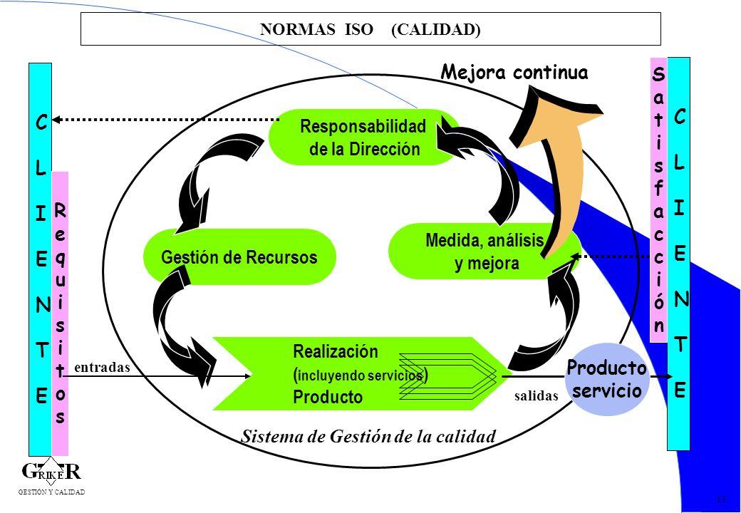 24 NORMAS ISO (CALIDAD) 13 CLIENTECLIENTE CLIENTECLIENTE Responsabilidad de la Dirección Gestión de Recursos Medida, análisis y mejora Realización ( i