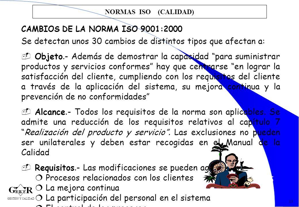 25 NORMAS ISO (CALIDAD) 13 CAMBIOS DE LA NORMA ISO 9001:2000 Se detectan unos 30 cambios de distintos tipos que afectan a: Objeto.- Además de demostra