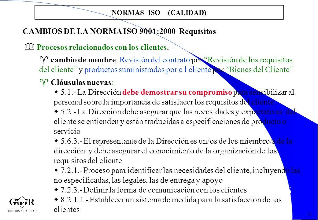26 NORMAS ISO (CALIDAD) 13 CAMBIOS DE LA NORMA ISO 9001:2000 Requisitos Procesos relacionados con los clientes.- cambio de nombre: Revisión del contra