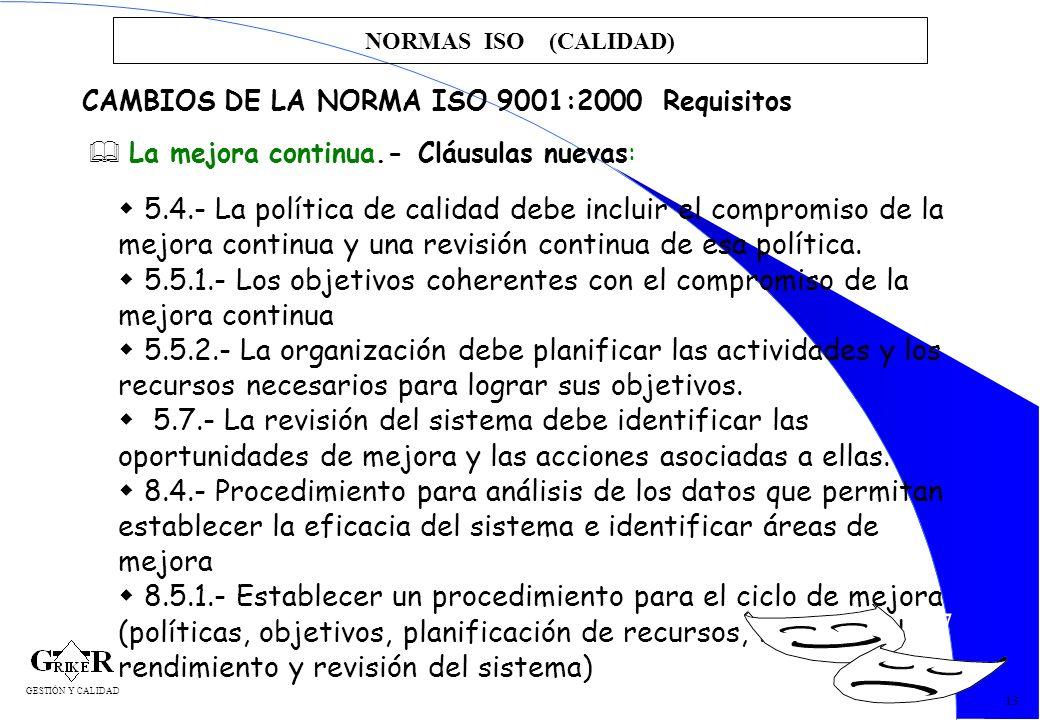27 NORMAS ISO (CALIDAD) 13 CAMBIOS DE LA NORMA ISO 9001:2000 Requisitos La mejora continua.- Cláusulas nuevas: 5.4.- La política de calidad debe inclu