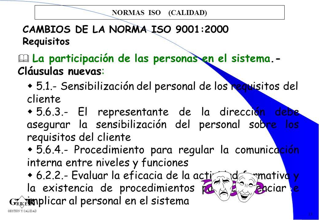 28 NORMAS ISO (CALIDAD) 13 CAMBIOS DE LA NORMA ISO 9001:2000 Requisitos La participación de las personas en el sistema.- Cláusulas nuevas: 5.1.- Sensi