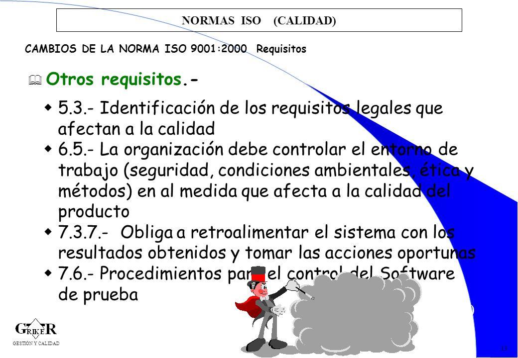 30 NORMAS ISO (CALIDAD) 13 CAMBIOS DE LA NORMA ISO 9001:2000 Requisitos Otros requisitos.- 5.3.- Identificación de los requisitos legales que afectan
