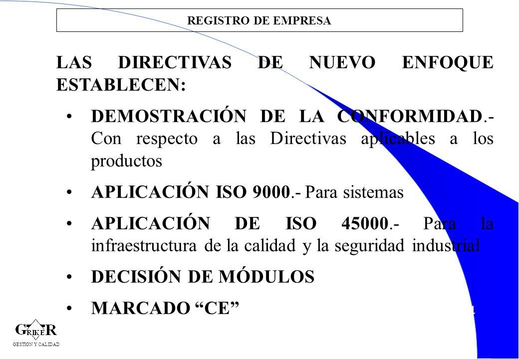 34 REGISTRO DE EMPRESA LAS DIRECTIVAS DE NUEVO ENFOQUE ESTABLECEN: DEMOSTRACIÓN DE LA CONFORMIDAD.- Con respecto a las Directivas aplicables a los pro