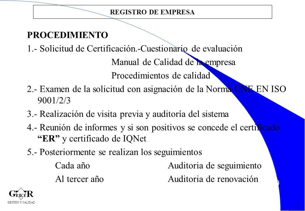 40 REGISTRO DE EMPRESA PROCEDIMIENTO 1.- Solicitud de Certificación.-Cuestionario de evaluación Manual de Calidad de la empresa Procedimientos de cali