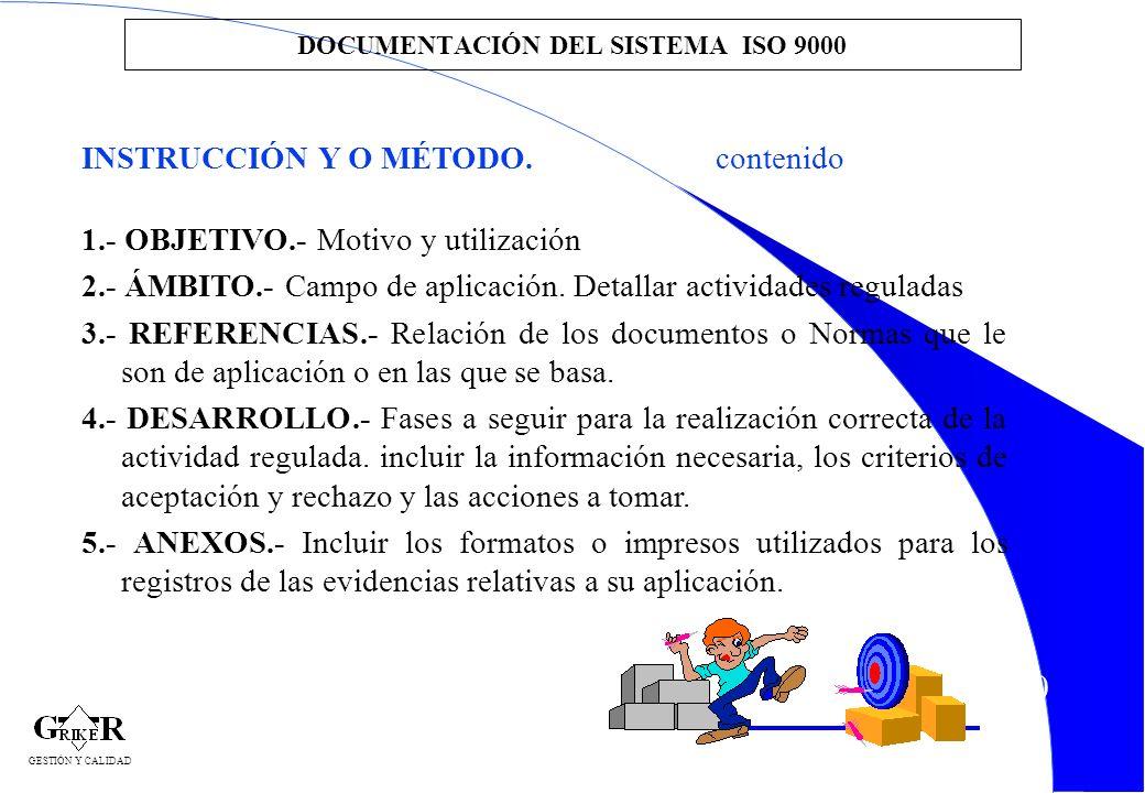 50 DOCUMENTACIÓN DEL SISTEMA ISO 9000 INSTRUCCIÓN Y O MÉTODO.contenido 1.- OBJETIVO.- Motivo y utilización 2.- ÁMBITO.- Campo de aplicación. Detallar