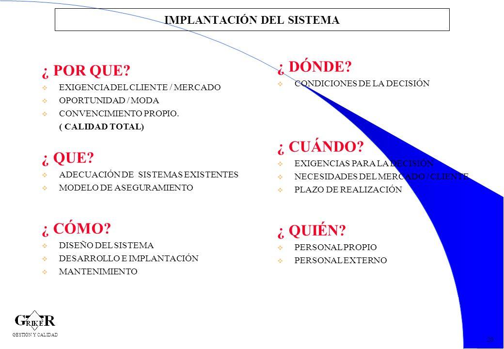 51 IMPLANTACIÓN DEL SISTEMA ¿ POR QUE? v EXIGENCIA DEL CLIENTE / MERCADO v OPORTUNIDAD / MODA v CONVENCIMIENTO PROPIO. ( CALIDAD TOTAL) ¿ QUE? v ADECU