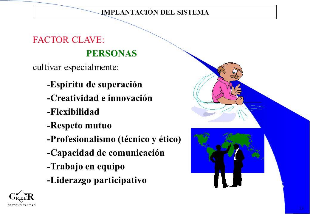56 IMPLANTACIÓN DEL SISTEMA FACTOR CLAVE: PERSONAS cultivar especialmente: -Espíritu de superación -Creatividad e innovación -Flexibilidad -Respeto mu