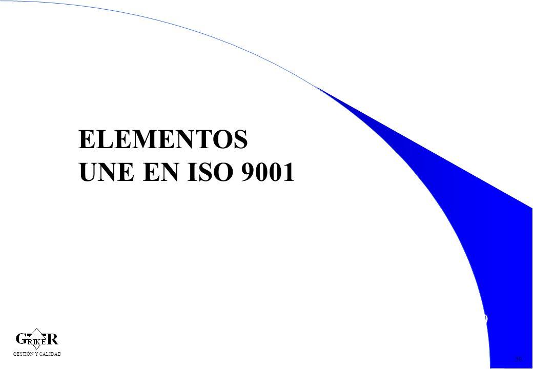 59 50 ELEMENTOS UNE EN ISO 9001 GESTIÓN Y CALIDAD