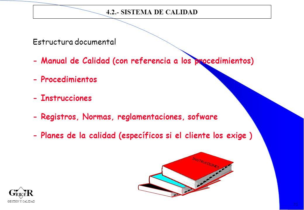 61 4.2.- SISTEMA DE CALIDAD 52 Estructura documental - Manual de Calidad (con referencia a los procedimientos) - Procedimientos - Instrucciones - Regi