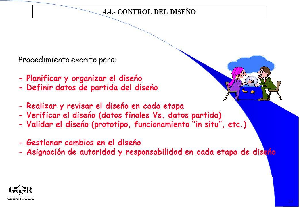 63 4.4.- CONTROL DEL DISEÑO 54 Procedimiento escrito para: - Planificar y organizar el diseńo - Definir datos de partida del diseńo - Realizar y revis