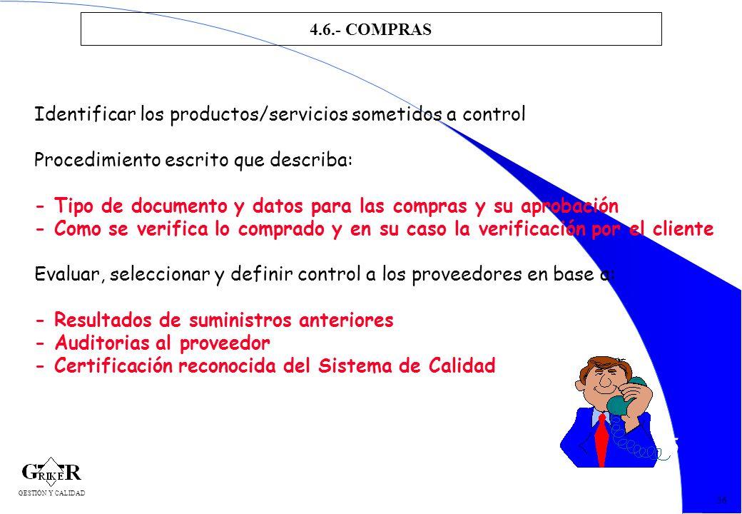 65 4.6.- COMPRAS 56 Identificar los productos/servicios sometidos a control Procedimiento escrito que describa: - Tipo de documento y datos para las c