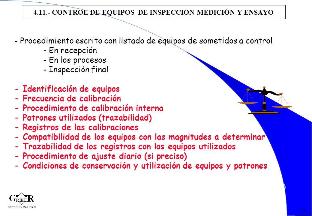 70 4.11.- CONTROL DE EQUIPOS DE INSPECCIÓN MEDICIÓN Y ENSAYO 61 - Procedimiento escrito con listado de equipos de sometidos a control - En recepción -