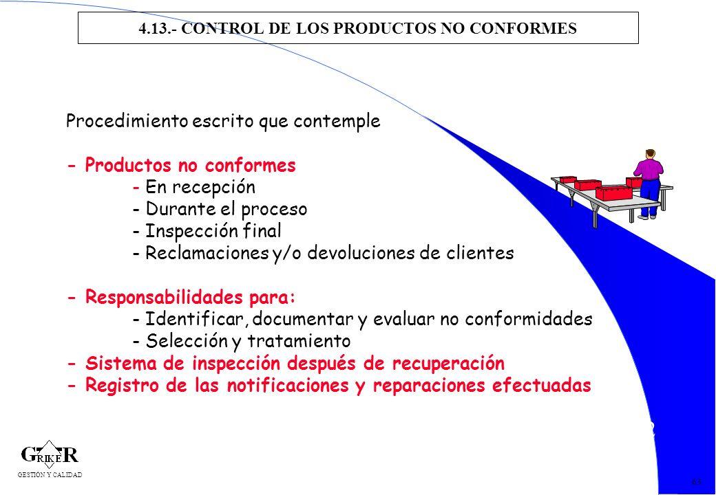 72 4.13.- CONTROL DE LOS PRODUCTOS NO CONFORMES 63 Procedimiento escrito que contemple - Productos no conformes - En recepción - Durante el proceso -
