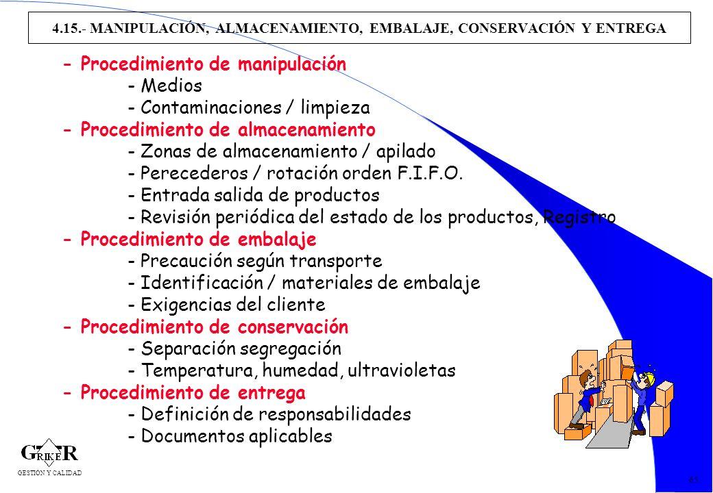74 4.15.- MANIPULACIÓN, ALMACENAMIENTO, EMBALAJE, CONSERVACIÓN Y ENTREGA 65 - Procedimiento de manipulación - Medios - Contaminaciones / limpieza - Pr