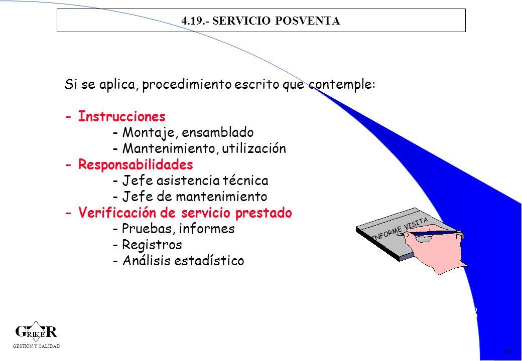 78 4.19.- SERVICIO POSVENTA 69 Si se aplica, procedimiento escrito que contemple: - Instrucciones - Montaje, ensamblado - Mantenimiento, utilización -
