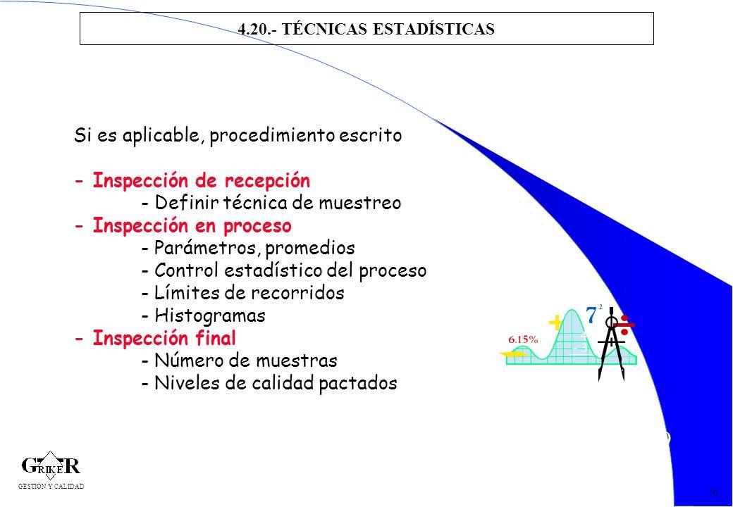 79 4.20.- TÉCNICAS ESTADÍSTICAS 70 Si es aplicable, procedimiento escrito - Inspección de recepción - Definir técnica de muestreo - Inspección en proc