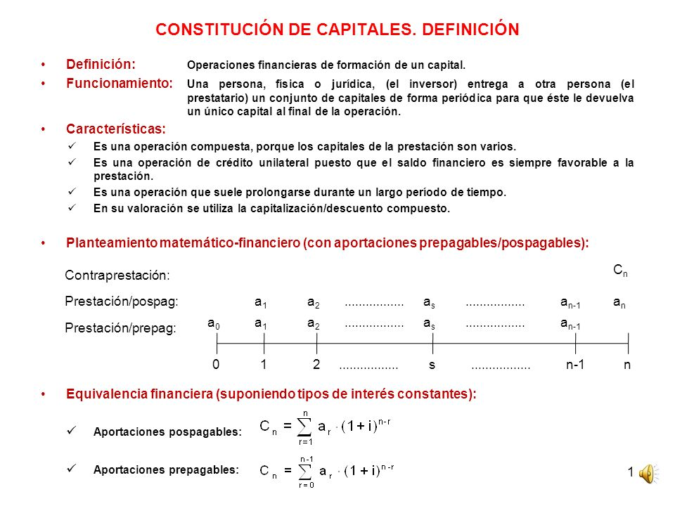 1 CONSTITUCIÓN DE CAPITALES. DEFINICIÓN Definición: Operaciones financieras de formación de un capital. Funcionamiento: Una persona, física o jurídica