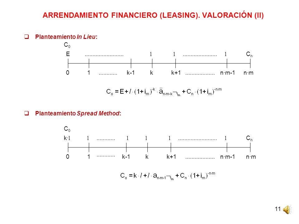 11 ARRENDAMIENTO FINANCIERO (LEASING). VALORACIÓN (II) Planteamiento In Lieu: Planteamiento Spread Method: C0C0 0 E ll CnCn 1n·m-1n·m C0C0 0 k· l l...