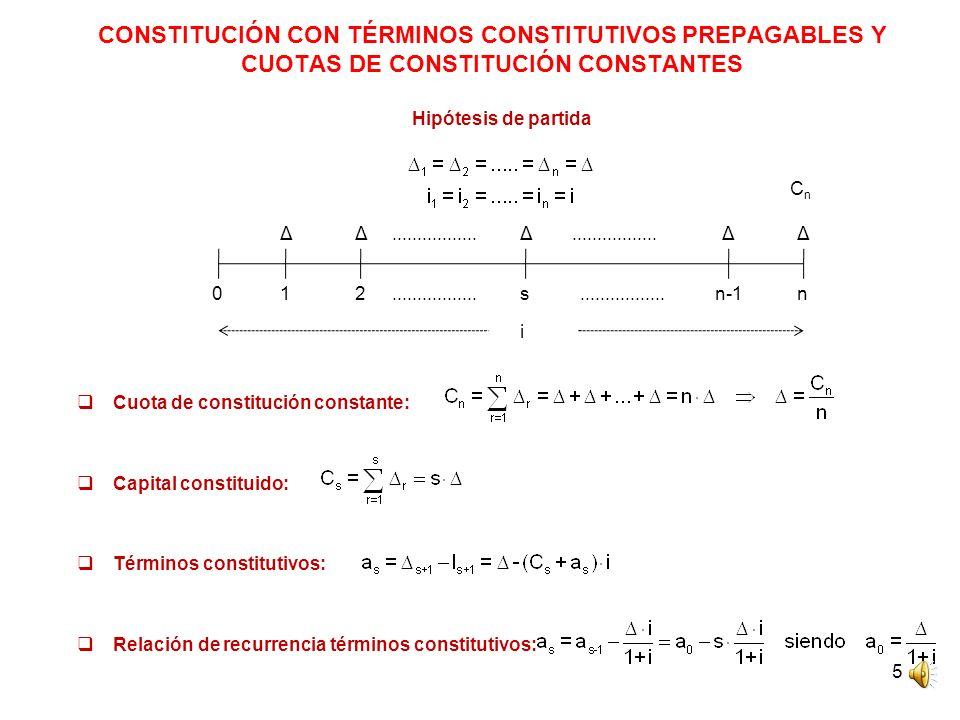 5 CONSTITUCIÓN CON TÉRMINOS CONSTITUTIVOS PREPAGABLES Y CUOTAS DE CONSTITUCIÓN CONSTANTES Hipótesis de partida Cuota de constitución constante: Capital constituido: Términos constitutivos: Relación de recurrencia términos constitutivos: CnCn 012sn-1n ΔΔΔΔΔ.................