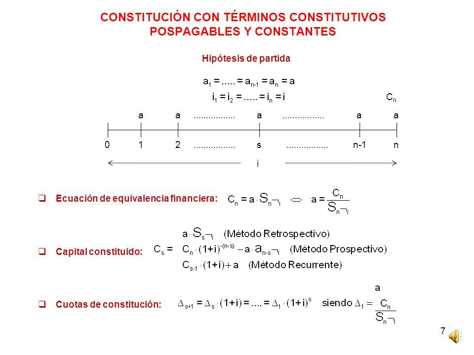 8 CONSTITUCIÓN CON TÉRMINOS CONSTITUTIVOS POSPAGABLES Y CUOTAS DE CONSTITUCIÓN CONSTANTES Hipótesis de partida Cuota de constitución constante: Capital constituido: Términos constitutivos: Relación de recurrencia términos constitutivos: CnCn 012sn-1n ΔΔΔΔΔ.................