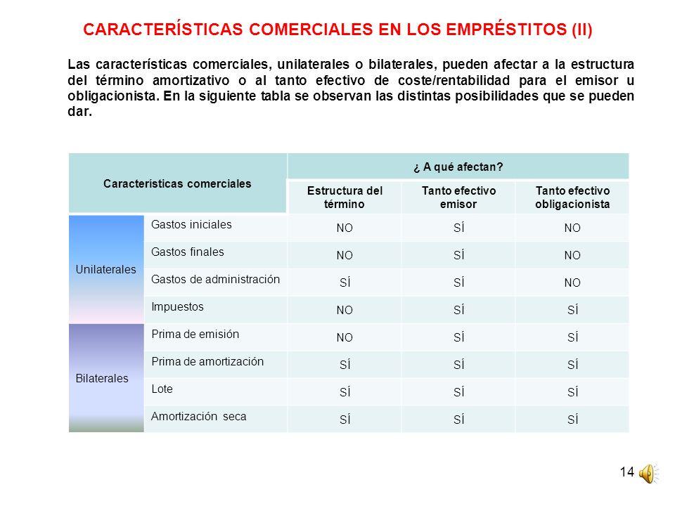 14 CARACTERÍSTICAS COMERCIALES EN LOS EMPRÉSTITOS (II) Las características comerciales, unilaterales o bilaterales, pueden afectar a la estructura del