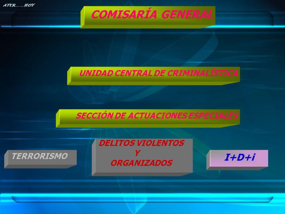 SECCIÓN DE ACTUACIONES ESPECIALES TERRORISMO DELITOS VIOLENTOS Y ORGANIZADOS I+D+i UNIDAD CENTRAL DE CRIMINALÍSTICA COMISARÍA GENERAL AYER… …HOY