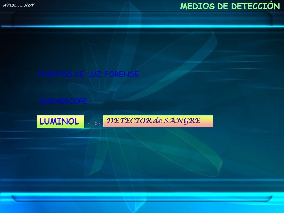 MEDIOS DE DETECCIÓN FUENTES DE LUZ FORENSE SCENESCOPE LUMINOL DETECTOR de SANGRE AYER… …HOY