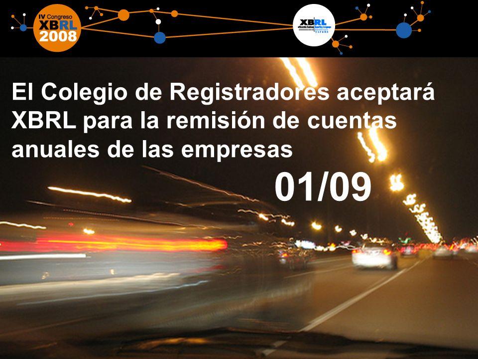 12 El Colegio de Registradores aceptará XBRL para la remisión de cuentas anuales de las empresas 01/09