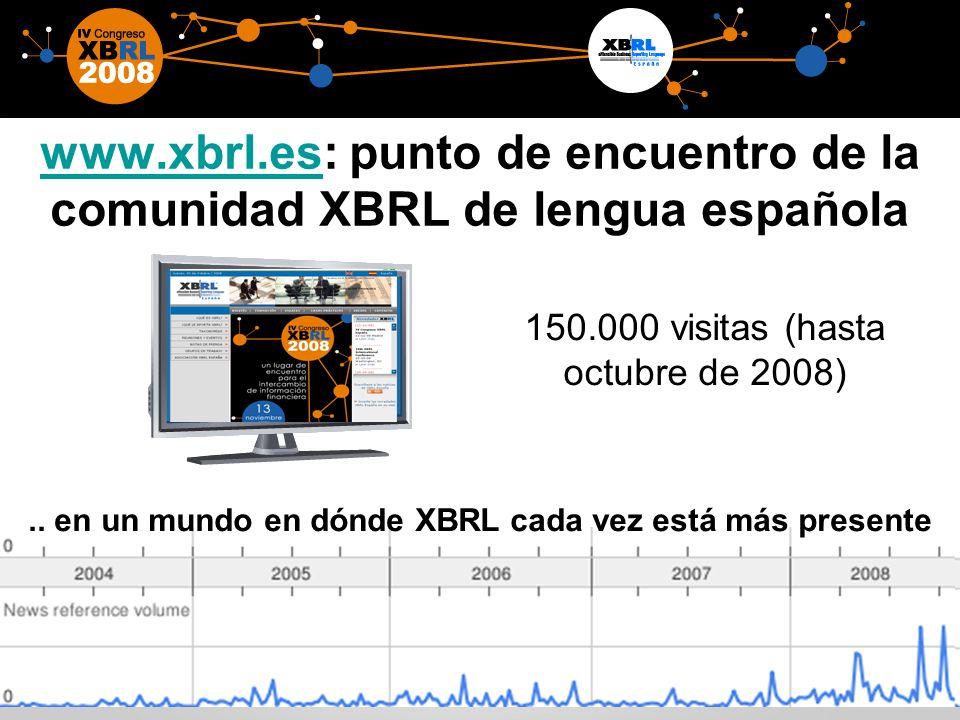 20 www.xbrl.eswww.xbrl.es: punto de encuentro de la comunidad XBRL de lengua española 150.000 visitas (hasta octubre de 2008)..