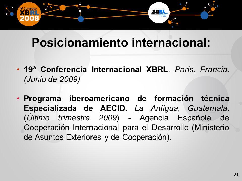 21 Posicionamiento internacional: 19ª Conferencia Internacional XBRL.