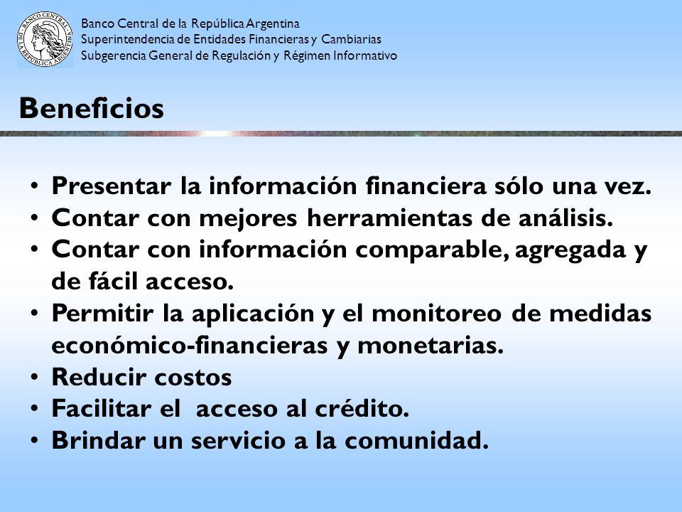 Beneficios Presentar la información financiera sólo una vez. Contar con mejores herramientas de análisis. Contar con información comparable, agregada