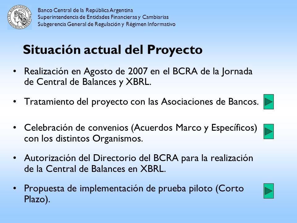 Realización en Agosto de 2007 en el BCRA de la Jornada de Central de Balances y XBRL. Tratamiento del proyecto con las Asociaciones de Bancos. Celebra