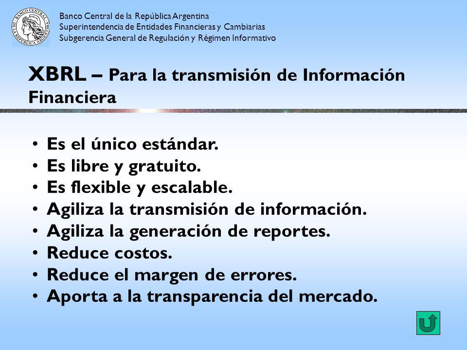 XBRL – Para la transmisión de Información Financiera Es el único estándar. Es libre y gratuito. Es flexible y escalable. Agiliza la transmisión de inf
