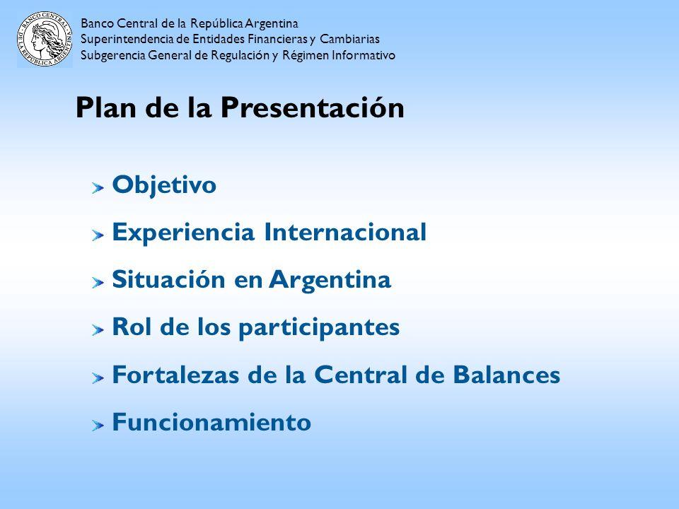 Plan de la Presentación Banco Central de la República Argentina Superintendencia de Entidades Financieras y Cambiarias Subgerencia General de Regulaci
