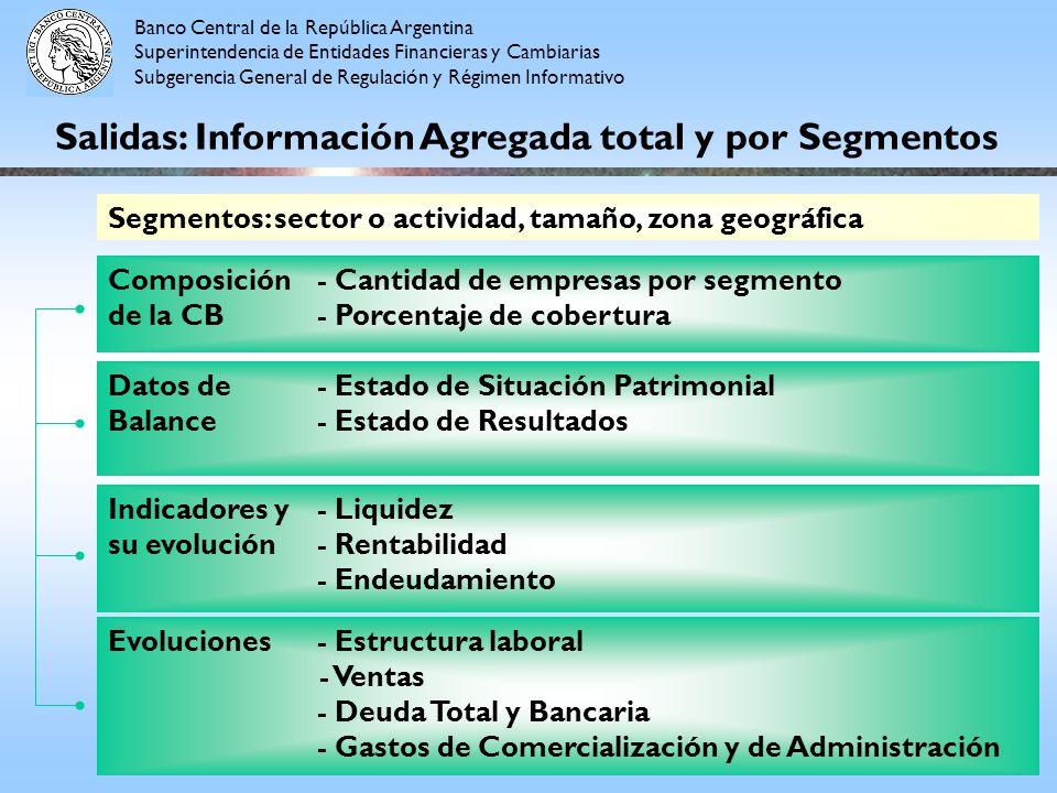 Salidas: Información Agregada total y por Segmentos Banco Central de la República Argentina Superintendencia de Entidades Financieras y Cambiarias Sub