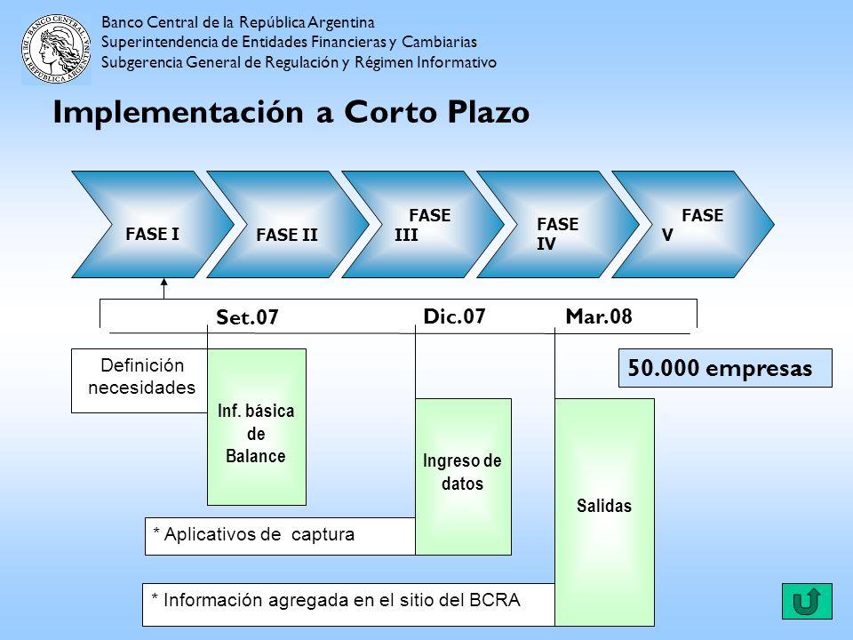 Implementación a Corto Plazo Banco Central de la República Argentina Superintendencia de Entidades Financieras y Cambiarias Subgerencia General de Reg
