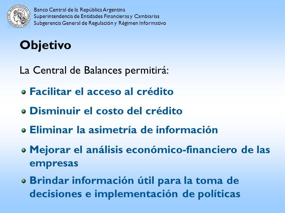Objetivo Banco Central de la República Argentina Superintendencia de Entidades Financieras y Cambiarias Subgerencia General de Regulación y Régimen In