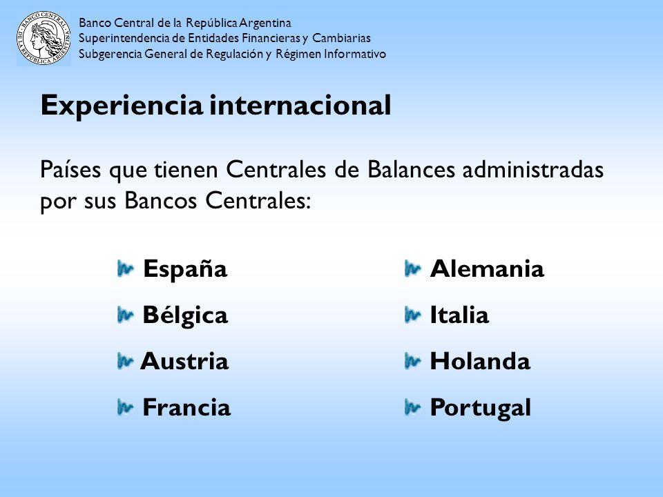 Experiencia internacional Países que tienen Centrales de Balances administradas por sus Bancos Centrales: Banco Central de la República Argentina Supe