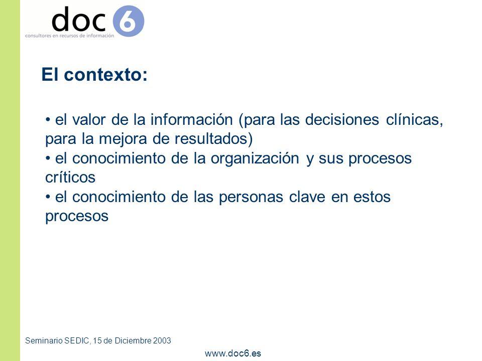 Seminario SEDIC, 15 de Diciembre 2003 www.doc6.es el valor de la información (para las decisiones clínicas, para la mejora de resultados) el conocimiento de la organización y sus procesos críticos el conocimiento de las personas clave en estos procesos El contexto: