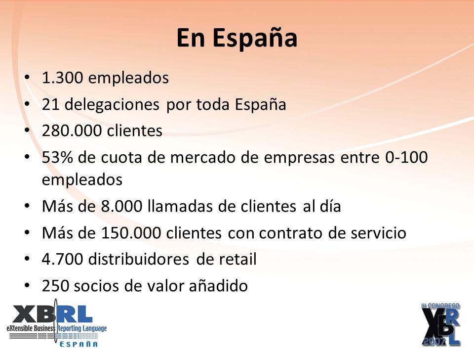 En España 1.300 empleados 21 delegaciones por toda España 280.000 clientes 53% de cuota de mercado de empresas entre 0-100 empleados Más de 8.000 llamadas de clientes al día Más de 150.000 clientes con contrato de servicio 4.700 distribuidores de retail 250 socios de valor añadido