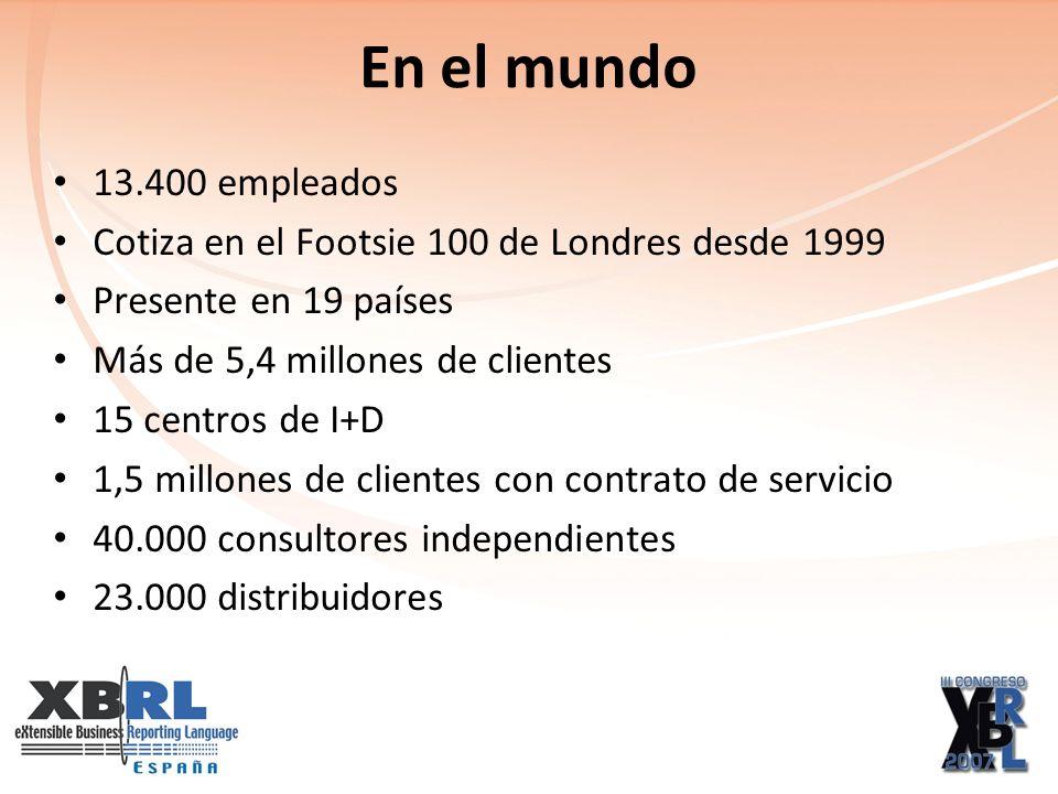 En el mundo 13.400 empleados Cotiza en el Footsie 100 de Londres desde 1999 Presente en 19 países Más de 5,4 millones de clientes 15 centros de I+D 1,5 millones de clientes con contrato de servicio 40.000 consultores independientes 23.000 distribuidores