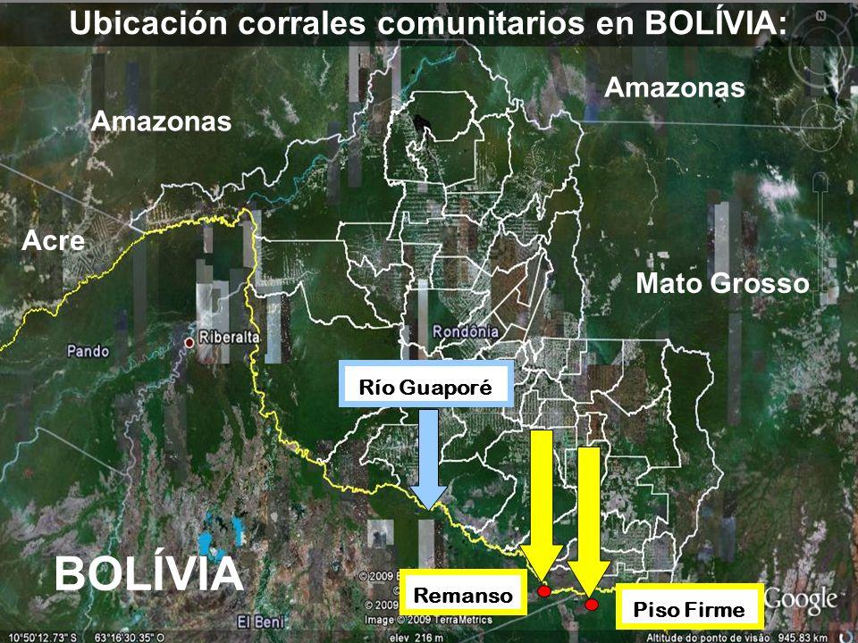BOLÍVIA Ubicación corrales comunitarios en BOLÍVIA: Acre Amazonas Mato Grosso Remanso Piso Firme Río Guaporé