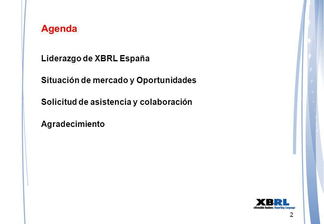 2 Agenda Liderazgo de XBRL España Situación de mercado y Oportunidades Solicitud de asistencia y colaboración Agradecimiento